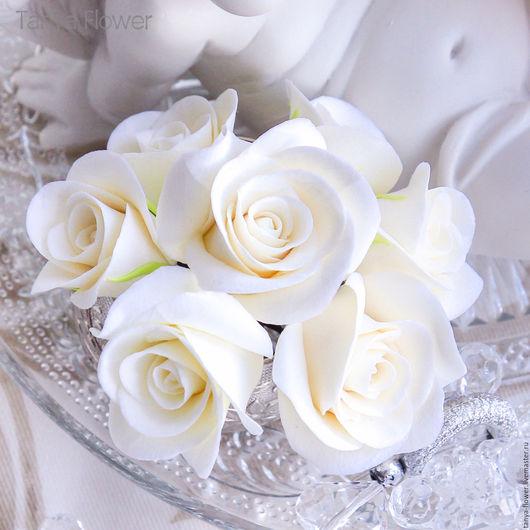 Свадебные украшения ручной работы. Ярмарка Мастеров - ручная работа. Купить Набор шпилек с мини розами - Айвори (7 шт). Handmade.