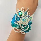 Украшения handmade. Livemaster - original item Bracelet embroidered Green blue white Shibori silk,pearls,soutache. Handmade.