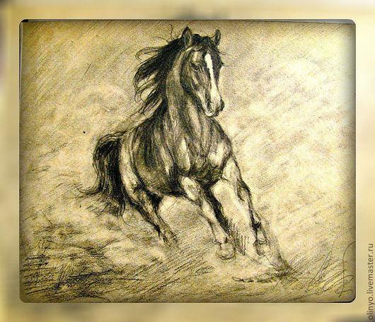 Животные ручной работы. Ярмарка Мастеров - ручная работа. Купить Бегущий конь. Handmade. Лошади, конь, графика, скорость, карандаш