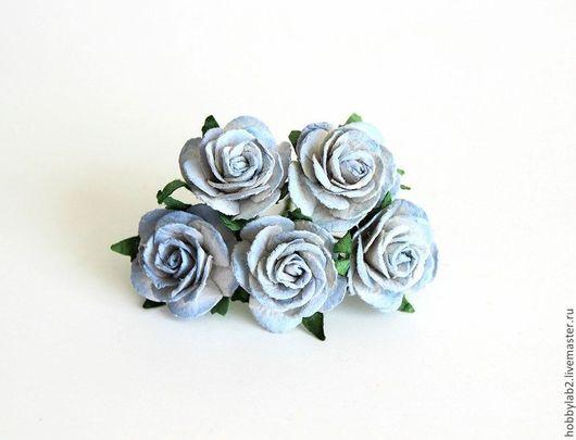Открытки и скрапбукинг ручной работы. Ярмарка Мастеров - ручная работа. Купить Розы миди с переходом цвета Голубые. Handmade.