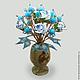 Цветы из бирюзы `Нежная страсть` в вазочке из оникса