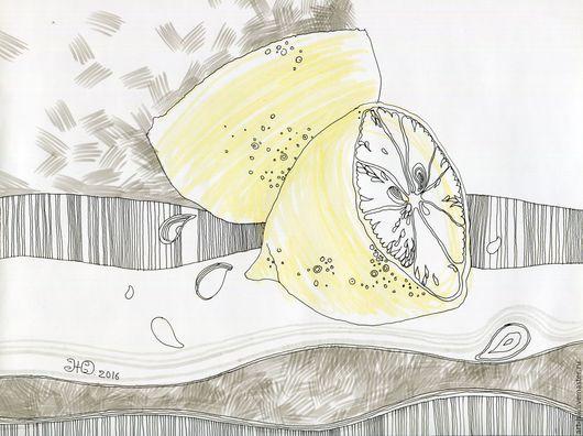 """Натюрморт ручной работы. Ярмарка Мастеров - ручная работа. Купить рисунок """"Две половинки одного"""". Handmade. Лимонный"""