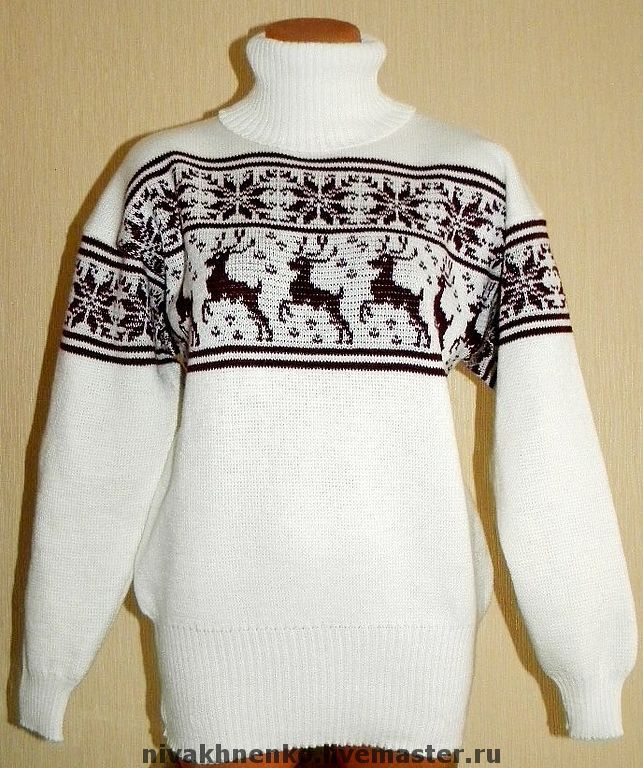 The women's oversize sweater with deer and Norwegian ornament knitted, Sweaters, Moscow,  Фото №1