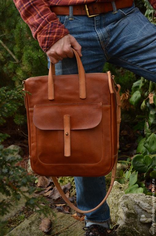Мужские сумки ручной работы. Ярмарка Мастеров - ручная работа. Купить Полезная сумка. Handmade. Рыжий, кожаные сумки интернет