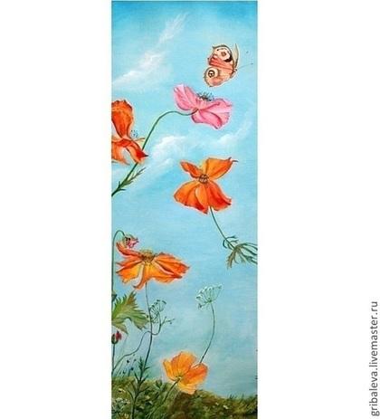 Пейзаж ручной работы. Ярмарка Мастеров - ручная работа Картина маслом Горные маки 30на80 см. Handmade.