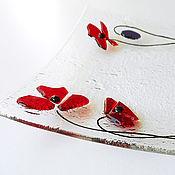 handmade. Livemaster - original item A plate of glass Poppies. Fusing. Handmade.
