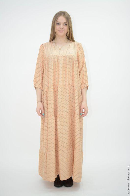"""Одежда ручной работы. Ярмарка Мастеров - ручная работа. Купить Платье """"Горох"""". Handmade. Кремовый, длинное платье"""