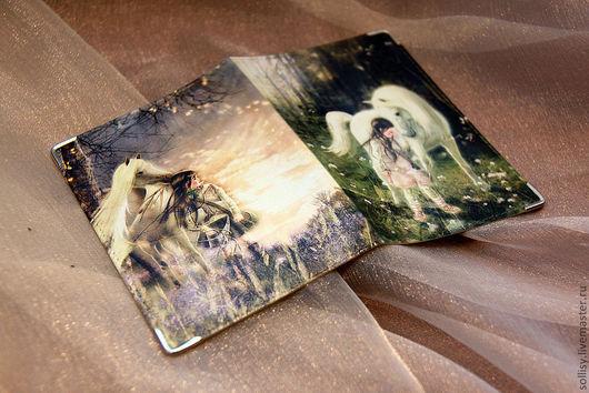 """Обложки ручной работы. Ярмарка Мастеров - ручная работа. Купить обложка """"Из мира сказки"""". Handmade. Натуральная кожа, конь"""