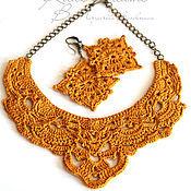 Украшения handmade. Livemaster - original item Necklace and earrings yellow linen pointelle crochet summer set. Handmade.