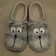 """Обувь ручной работы. Тапки """"Котики"""". Wool is cool (Базылева Анна). Интернет-магазин Ярмарка Мастеров. Коты"""