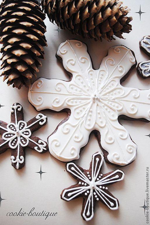 """Новый год 2017 ручной работы. Ярмарка Мастеров - ручная работа. Купить Печенье """"Great snowflakes"""". Handmade. Белый, Снег, козули"""