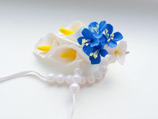 Свадебные украшения ручной работы. Ярмарка Мастеров - ручная работа. Купить Каллы с незабудками - цветы из полимерной глины в прическу. Handmade.