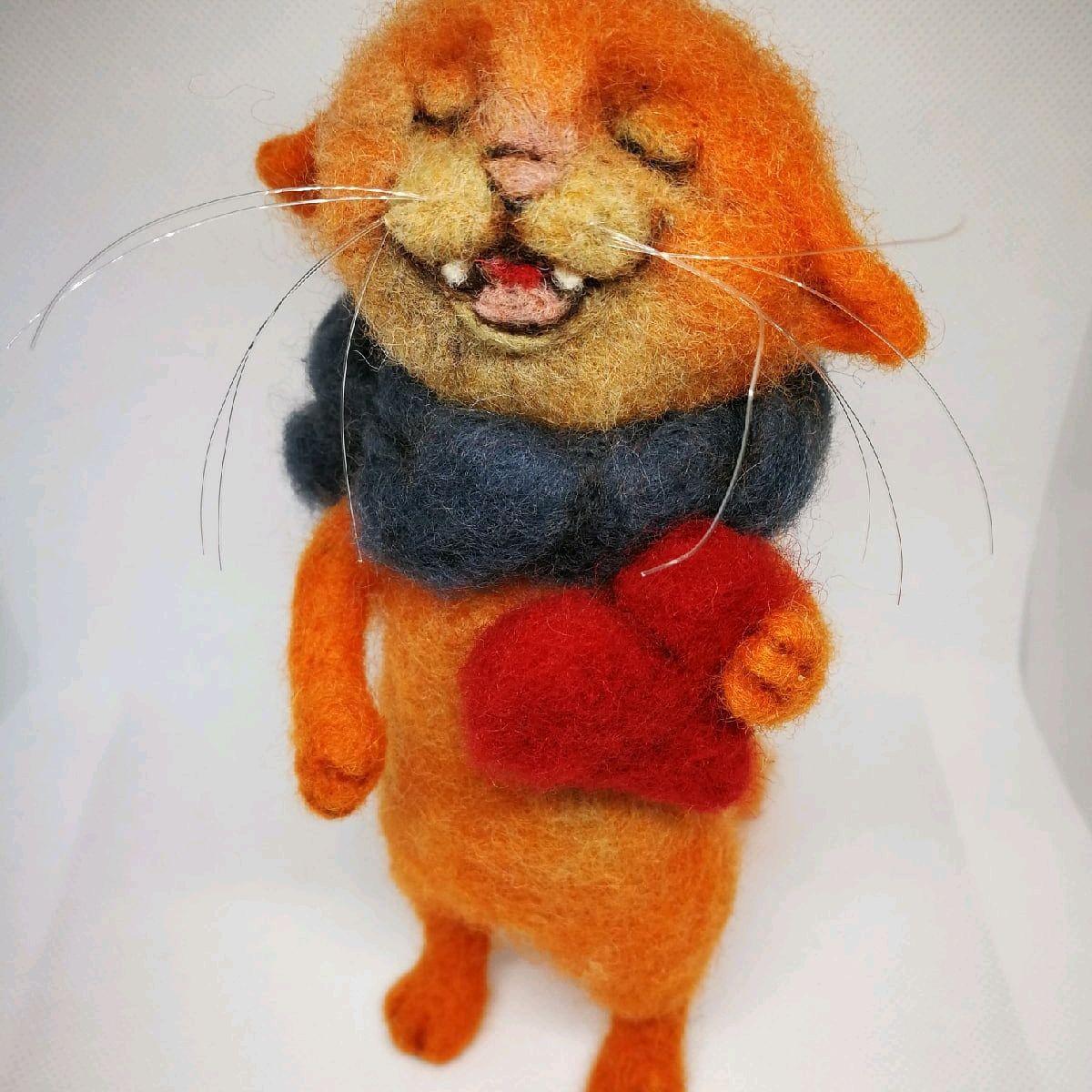 Войлочная игрушка кот поющий Котофей, Войлочная игрушка, Ступино,  Фото №1