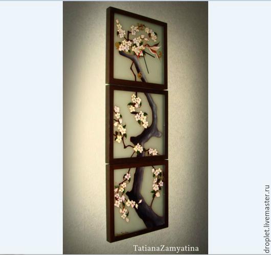 """Часы для дома ручной работы. Ярмарка Мастеров - ручная работа. Купить Часы """"Сакура"""" из 3-х частей ГОТОВАЯ РАБОТА. Handmade."""