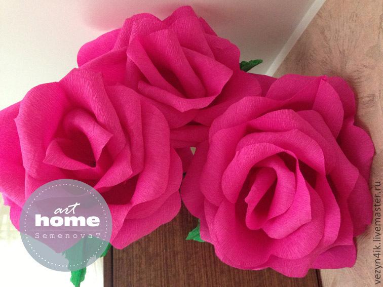 Купить Гигантская роза для фотосессии - красная роза, роза из бумаги, роза из креповой бумаги