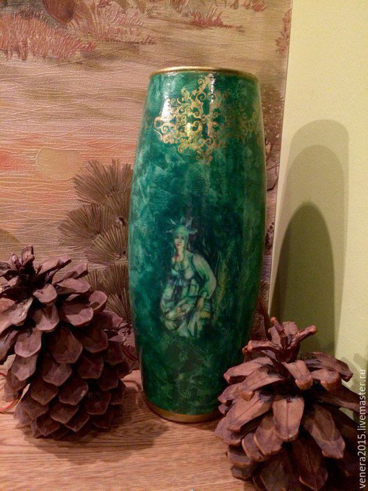 Вазы ручной работы. Ярмарка Мастеров - ручная работа. Купить Малахитовая ваза. Handmade. Ваза декоративная, малахит, стекло, декупаж