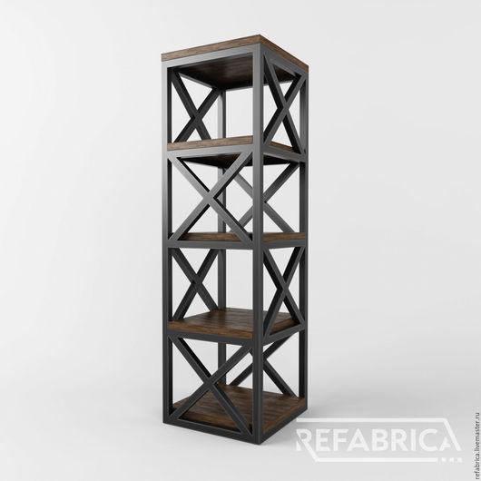 ОМАХА – колонна в стиле лофт. 5 полок из массива сосны толщиной 40 мм. Мебель лофт и индастриал на заказ