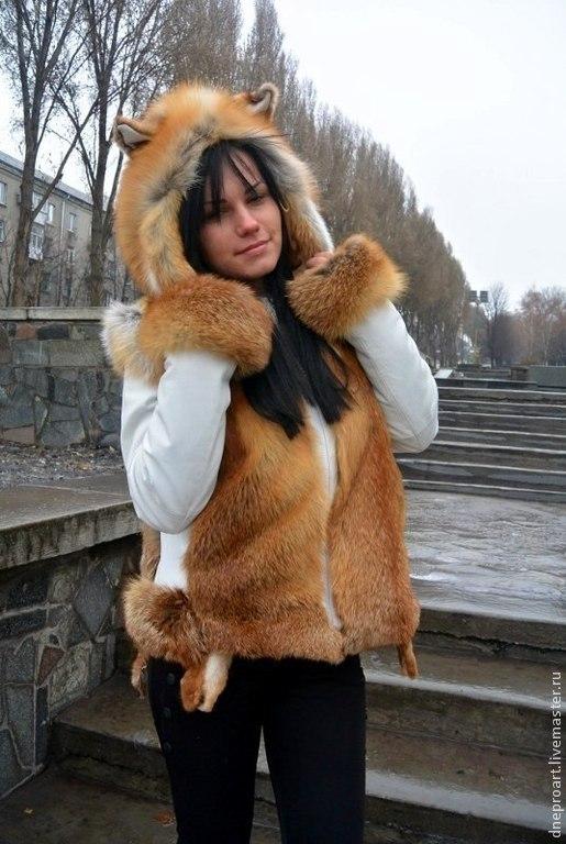 Верхняя одежда ручной работы. Ярмарка Мастеров - ручная работа. Купить Куртка зимняя,трансформер с меховым капюшоном и ушками. Handmade.