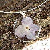 Украшения handmade. Livemaster - original item Transparent Pendant with Lilac Hydrangea Flower Botany Eco 2. Handmade.