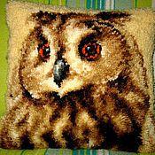 Филин.Подушка в ковровой технике