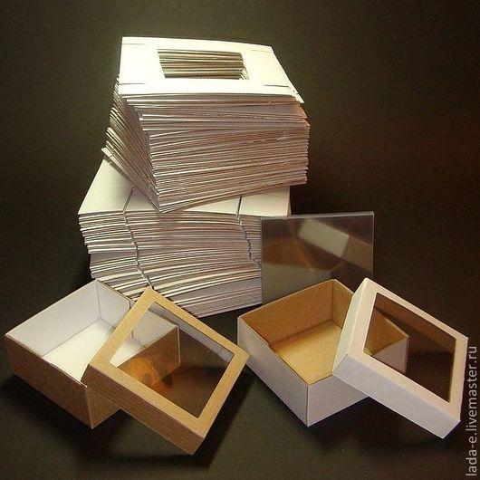 Упаковка ручной работы. Ярмарка Мастеров - ручная работа. Купить Коробочка с окошком ЗАГОТОВКА (цена за упаковку 50 штук), бурый верх. Handmade.