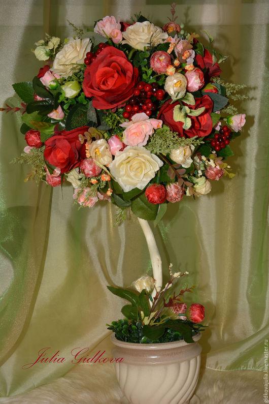 """Топиарии ручной работы. Ярмарка Мастеров - ручная работа. Купить Топиарий """"Красные розы"""". Handmade. Бордовый, топиарий ручной работы"""