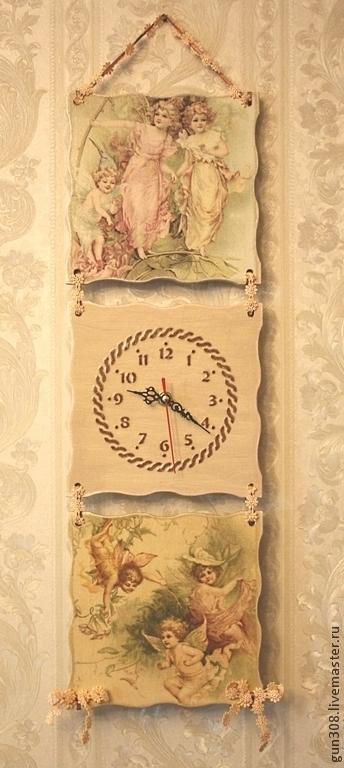 """Часы для дома ручной работы. Ярмарка Мастеров - ручная работа. Купить Часы-панно настенные """"Ангелочки"""". Handmade. Бледно-розовый"""