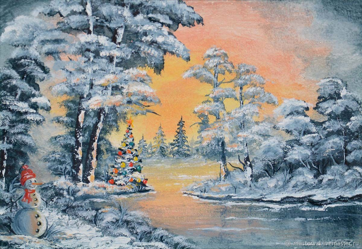 Picture miniature Christmas tree and snowman by the lake, 20h15, oil, Pictures, Voronezh,  Фото №1