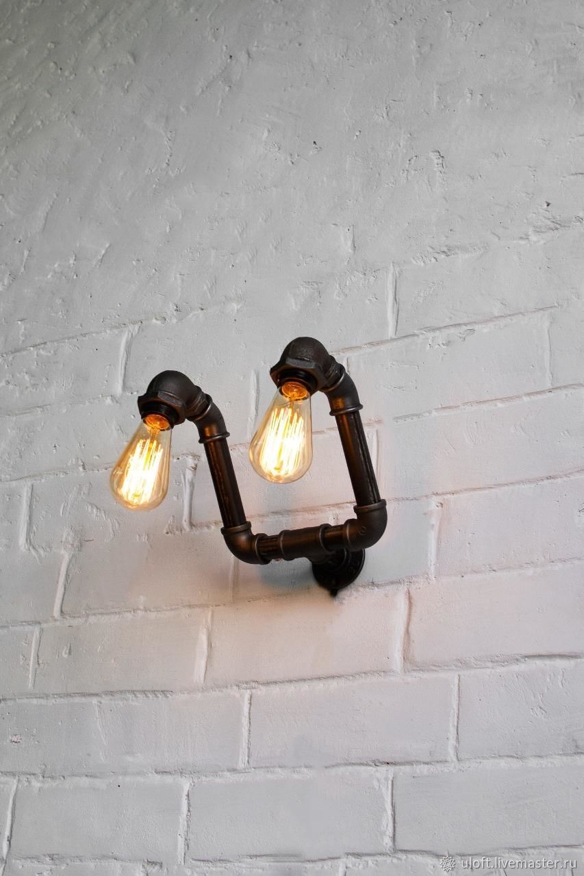 Lamp-wall lamp made of water pipes ' Deglas 8', Sconce, Ivanovo,  Фото №1
