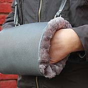 Аксессуары handmade. Livemaster - original item Clutch hand Bag made of leather and fur sheepskin Gray haze. Handmade.