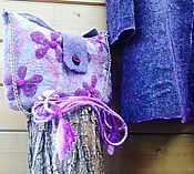 Классическая сумка ручной работы. Ярмарка Мастеров - ручная работа Валяная сумка Lilac in gray. Handmade.
