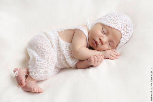 Для новорожденных, ручной работы. Ярмарка Мастеров - ручная работа. Купить Комплект для фотосессии новорожденных. Handmade. Белый, одежда для детей