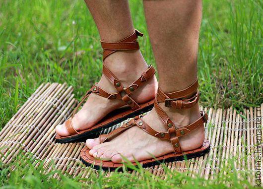 Обувь ручной работы. Ярмарка Мастеров - ручная работа. Купить Греческие Сандалии с браслетами из кожи Рыжие. Handmade. Сандалии