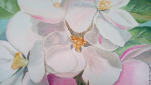 """Картины цветов ручной работы. Ярмарка Мастеров - ручная работа. Купить Картина """"Весенний цвет"""". Handmade. Бледно-розовый, акрил"""