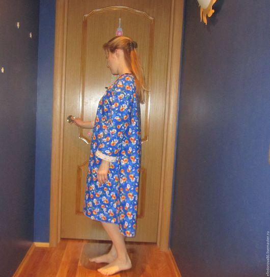 """Белье ручной работы. Ярмарка Мастеров - ручная работа. Купить Фланелевая ночная сорочка """" весна"""". Handmade. Синий, фланель"""