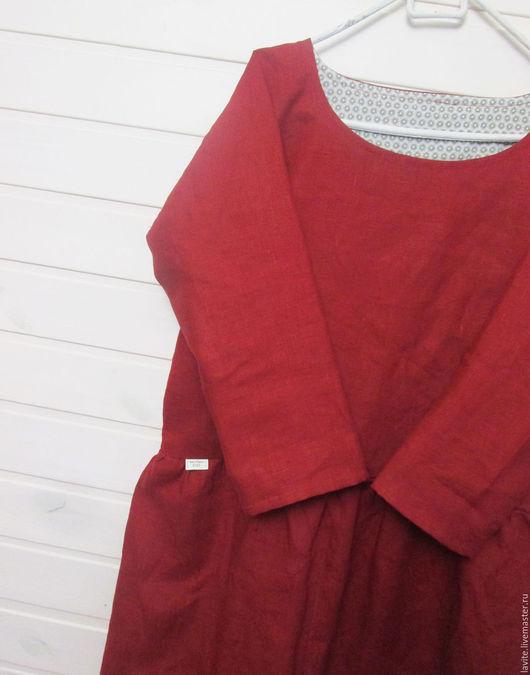 Платья ручной работы. Ярмарка Мастеров - ручная работа. Купить темно-красное с отворотами. Handmade. Ярко-красный, свободный силуэт