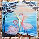 Настенные часы картина Розовые фламинго встречают рассвет