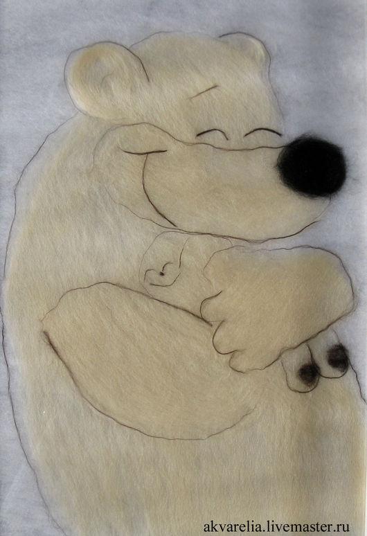 Животные ручной работы. Ярмарка Мастеров - ручная работа. Купить Картина из шерсти Мамино тепло. Handmade. Белый, живопись шерстью