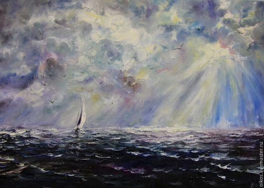 Фэнтези ручной работы. Ярмарка Мастеров - ручная работа. Купить Картина маслом - фиолетовое море. Handmade. Тропический, небо, парусник