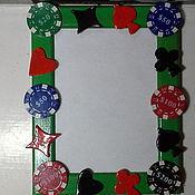 Сувениры и подарки ручной работы. Ярмарка Мастеров - ручная работа Фоторамка мужская Покер-полимерная глина. Handmade.