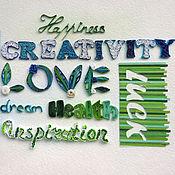 Для дома и интерьера ручной работы. Ярмарка Мастеров - ручная работа Квиллинг мотиватор, панно добрые слова сине-зелёное. Handmade.