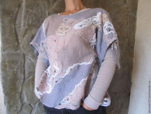"""Кофты и свитера ручной работы. Ярмарка Мастеров - ручная работа. Купить Авторский валяный свитер-туника """"Причудливый узор"""". Handmade."""
