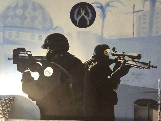 """Дизайн интерьеров ручной работы. Ярмарка Мастеров - ручная работа. Купить """"Counter Strike"""" Роспись стен для любителей компьютерных игр. Handmade."""