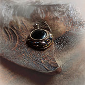 Украшения handmade. Livemaster - original item Small black pendant-tea tourmaline, Japanese beads, Natur. skin. Handmade.