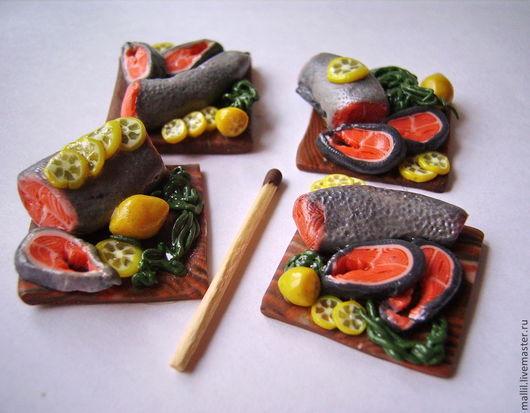 Еда ручной работы. Ярмарка Мастеров - ручная работа. Купить Рыба красная из полимерной глины. Handmade. Серебряный, миниатюра для кукол