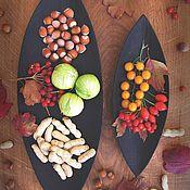Тарелки ручной работы. Ярмарка Мастеров - ручная работа Набор из 2-х блюд в форме лепестков. Обожжённый дуб. Handmade.