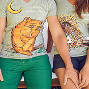 Одежда handmade. Livemaster - original item paired t-shirts the hedgehog and the Bear. Handmade.