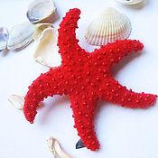 """Украшения ручной работы. Ярмарка Мастеров - ручная работа Брошь """"Морская звезда красная"""". Handmade."""