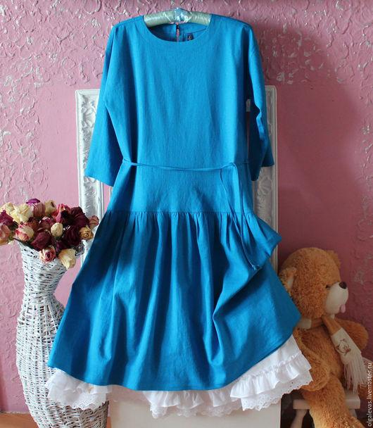 Платья ручной работы. Ярмарка Мастеров - ручная работа. Купить Платье Бохо свободного кроя Голубой лен. Handmade. Голубой