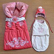 """Работы для детей, ручной работы. Ярмарка Мастеров - ручная работа Комплект на выписку новорожденной """"Коралловая нежность"""". Handmade."""